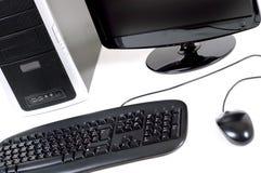 Computer met het vlakke scherm Stock Afbeelding