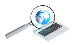 Computer met meer magnifier Royalty-vrije Stock Afbeelding