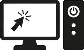 Computer met monitor en courser royalty-vrije illustratie