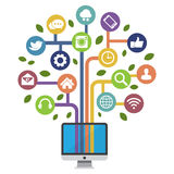 Computer met sociale media pictogrammen Royalty-vrije Stock Foto's