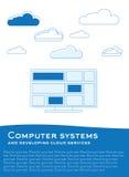 Computer met wolken Royalty-vrije Stock Afbeeldingen