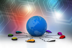 Computer mice are connected around globe Stock Images