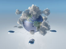 Computer Mice, earth and cloud. Americas Royalty Free Stock Photo