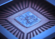 Computer Microchip. Microchip on board. Depth of field in the core Royalty Free Stock Images
