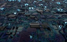 Computer microchip city flyby loop. 3d render of a computer microchip city in seamless loop. technology concept Stock Images