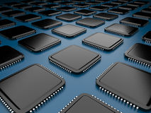 Computer microchip CPU 3D. On blue background Stock Images