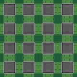 Computer microchip design, bitcoin symbol icon Stock Images