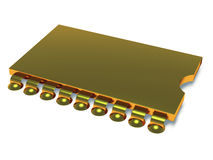 Computer microchip gold Royalty Free Stock Images
