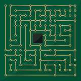 Computer microchip labyrinth. Abstract art Royalty Free Stock Photography