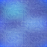 Computer microchip, seamless pattern on abstract blue background Royalty Free Stock Photo