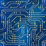 Computer microchip, seamless pattern on blue background Stock Image