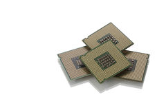 Computer microchips. CPU (central processing unit)  part of computer Stock Photos