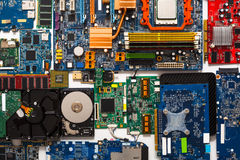 Computer microcircuits and hdd disassembled close up Stock Photos