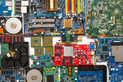 Computer microcircuits and hdd disassembled close up Stock Image