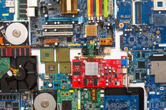 Computer microcircuits and hdd disassembled close up Stock Images