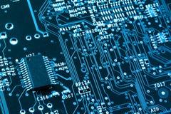 Computer circuit board closeup. Computer microprocessor on integrated circuit motherboard closeup Royalty Free Stock Image