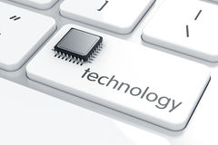 Computer microprocessor on the laptop keyboard. Technology conce Stock Photos