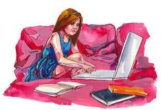 Computer in mijn leven stock illustratie