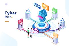 Computer mind or artificial intelligence brain. At isometric office with people. AI connected to digital cloud doing calculation and analytic. Big data center vector illustration