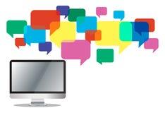 Computer mit Chatkasten, Mitteilungskasten-Kommunikationshintergrund Stockbild