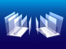 Computer mit einem blauen Bildschirm auf einem blauen Hintergrund Lizenzfreies Stockbild
