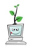 Computer mit einem grünen Baum Stockfoto