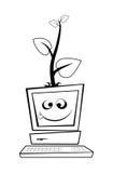 Computer mit einem jungen Baum Stockfotos