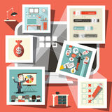 Computer mit Geschäfts-Ikonen Lizenzfreie Stockbilder