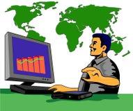 Computer mit Mann und Karte Lizenzfreie Stockfotos