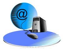 Computer mit Maus und Kugel lizenzfreie abbildung