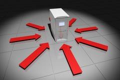 Computer mit roten Pfeilen Stockfoto