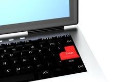 Computer mit roter Taste kommen herein Lizenzfreies Stockfoto