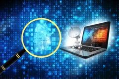 Computer mit Satelliten im Technologiehintergrund Internet-Kommunikationskonzept 3d übertragen lizenzfreie abbildung