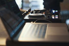 Computer and mixer DJ. On the table royalty free stock images
