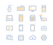Computer and mobile devices. Vector linear icons Royalty Free Stock Photography