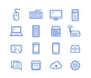 Computer and mobile devices. Vector linear icons Royalty Free Stock Image