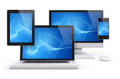 Computer and Mobile Group concept. Group Render of a tablet pc, laptop, Desktop and smartphone, with a blue generic abstract image on screen Royalty Free Stock Image