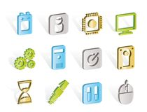Computer and mobile phone elements icon Stock Photography