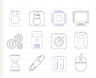 Computer and mobile phone elements icon Stock Images