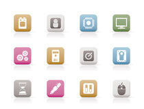Computer and mobile phone elements icons Royalty Free Stock Photos