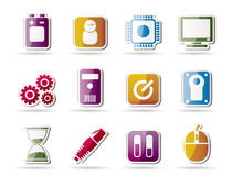 Computer and mobile phone elements icons Stock Images