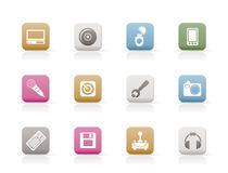 Computer and mobile phone Equipment Icons Stock Photo