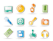 Computer and mobile phone Equipment Icons Stock Photos