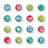 Computer, mobile phone and Internet Vector  over colored background. Icon Set Royalty Free Stock Photography