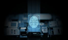 Computer and mobile phone system is operated by artificial intelligence hardware chip set. Glowing brain icon stock image