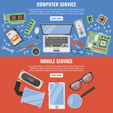 Computer And Mobile Service Banner Set Stock Photos