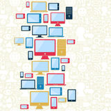 Computer, mobile and tablet icons pattern Royalty Free Stock Photo