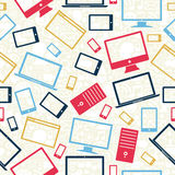 Computer, mobile and tablet icons seamless pattern Stock Photo