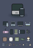 Computer and mobile technologies. icons set stock illustration