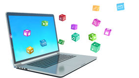 Computer mobility. laptop with color application icons Royalty Free Stock Image